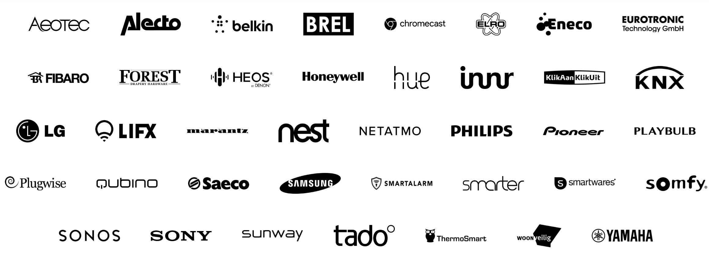 Dette er noen av merkene Homey snakker med