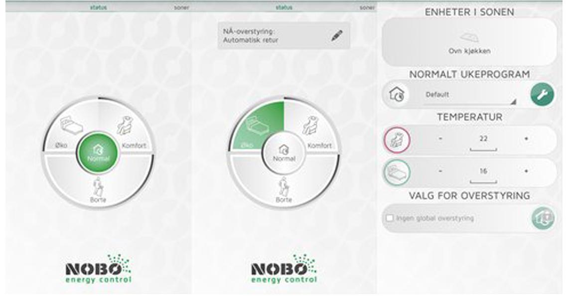 Nobø energy control er en intuitiv og oversiktlig app