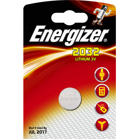 Batteri CR2032 Lithium 3V 225mAh ENERGIZER Ø20x3,2mm