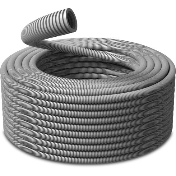 K-rør 16mm Korrugert plastrør Grå PVC 10m PM-Flex