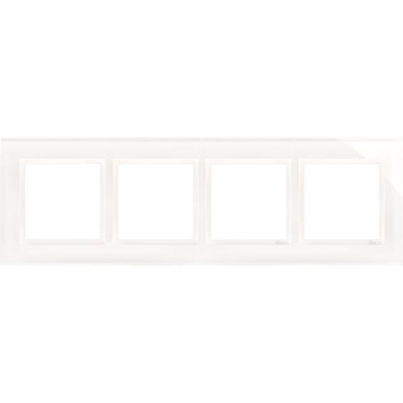 Simon 4-Hulls glass ramme White Pearl