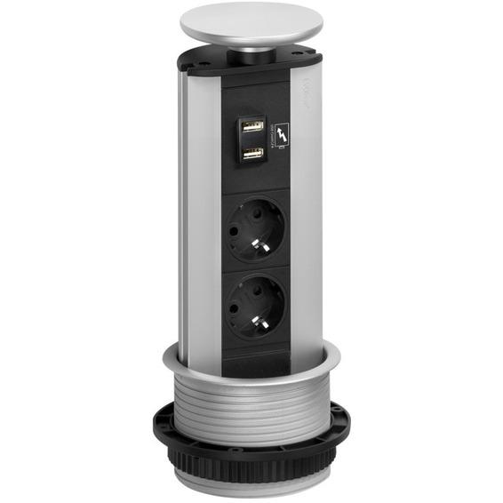 Evoline Port Stikkontakt 2 uttak og 2 USB Pop-Up Sølv