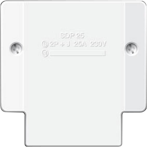 Stikkontakt Teknisk/Komfyr p�vegg Hvit 2X25A+J