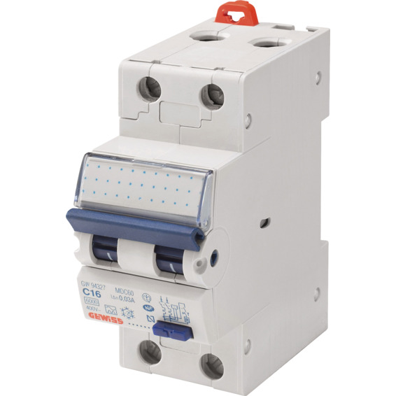 Jordfeilautomat Gewiss 225C 25A 2-pol 2 mod C-karakteristikk
