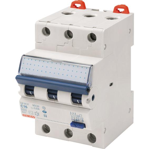 Jordfeilautomat Gewiss 316C 16A 3-pol 3 mod C-karakteristikk