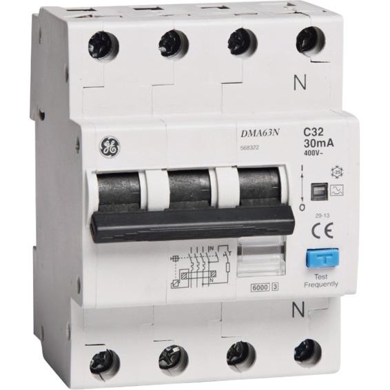 Jordfeilautomat 3+N C-25A 30mA 6kA 4mod GE DMA63N