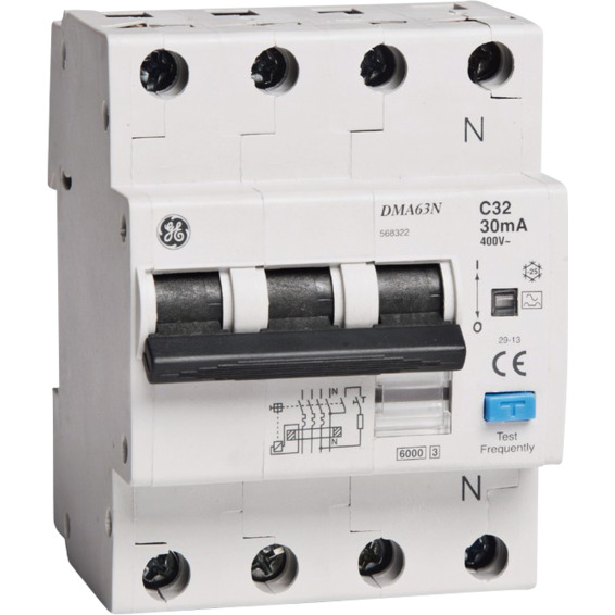 Jordfeilautomat 3+N C-10A 30mA 6kA 4mod GE DMA63N
