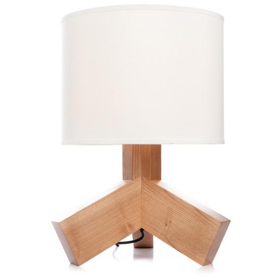 Hilda bordlampe i Ask, Hvit Skjerm