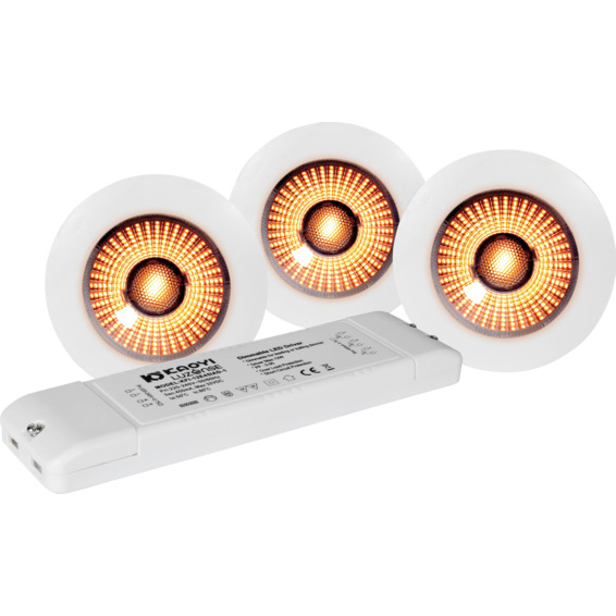 Unilamp UnoCob+ pack WarmDim 3x4W Matt Hvit 3225572 Skap/benk downlight LED
