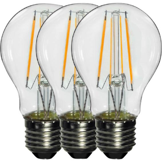 LED Pære Filament 6W E27 Klar 3 Pk