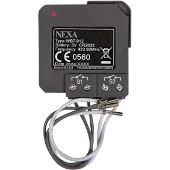 Wireless 2-kanals sender WBT-912 Nexa