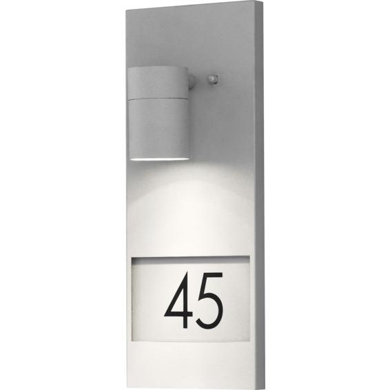 Modena vegglampe GU10 gr� inkl husnummer IP44
