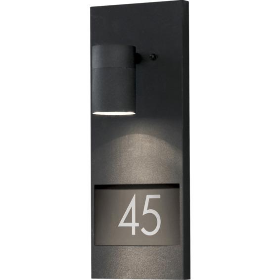 Modena vegglampe GU10 svart inkl husnummer IP44