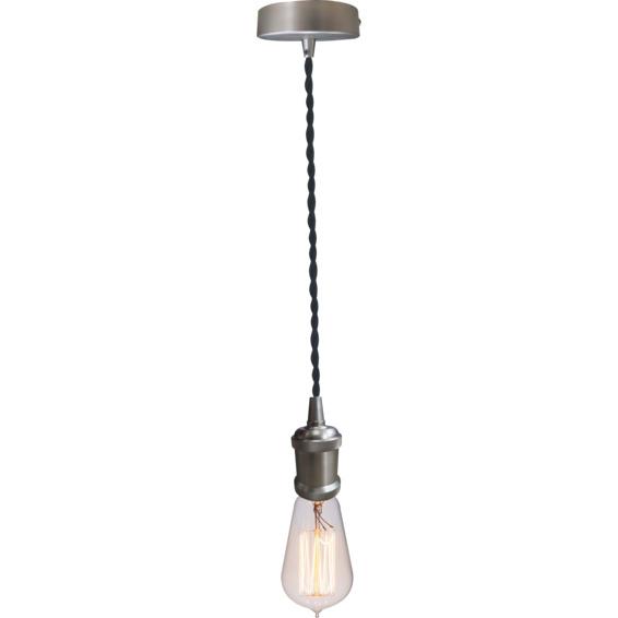 Lampeholder Børstet stål 3 med vridd svart lampeledning