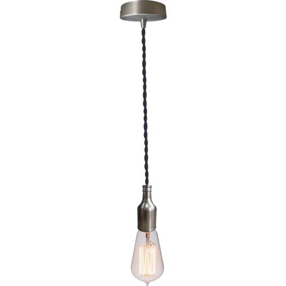 Lampeholder Børstet stål 13 med vridd svart lampeledning