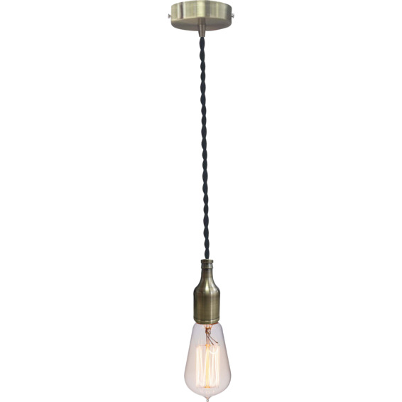 Lampeholder Blank Bronze 13 med vridd svart lampeledning