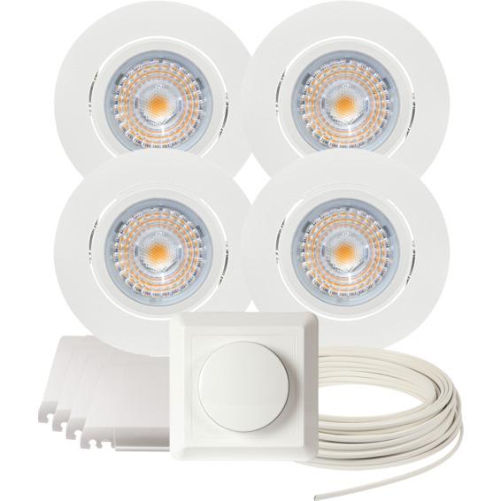 Komplett Alfa LED Downlightpakke Matt Hvit 4 pk