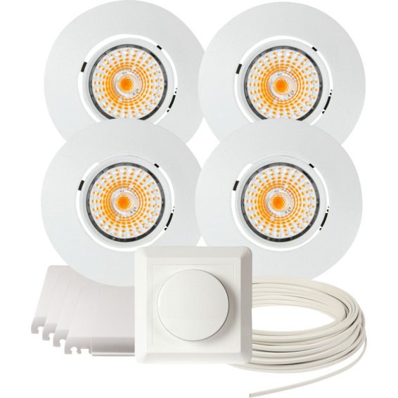 Namron Komplett Altea Tilt LED Downlightpakke Matt Hvit 4 pk 89463 Downlight innendørs