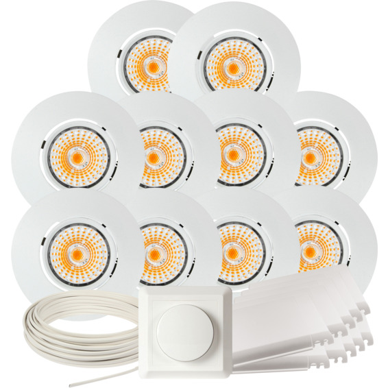 Namron Komplett Altea Tilt LED Downlightpakke Matt Hvit 10 pk 89465 Downlight innendørs