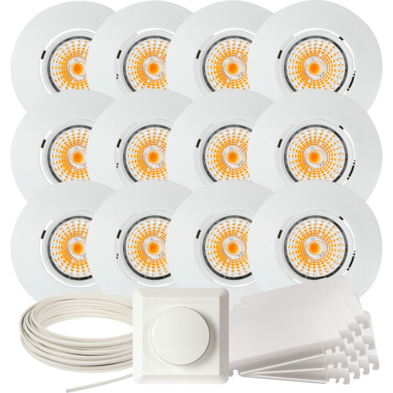 Namron Komplett Altea Tilt LED Downlightpakke Matt Hvit 12 pk 89467 Downlight innendørs