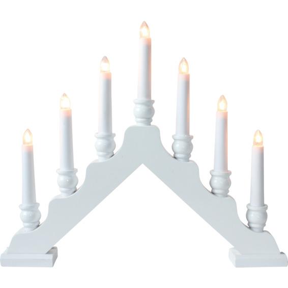 Lysestake 7 lys tre hvit kaschering
