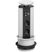EVOline Port - 2x stikk 2x 1000mA USB- lader. Sort topp