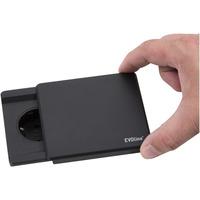 Evoline Square80 Sort. 1x stikk 230V og 1x USB lader 1000mA