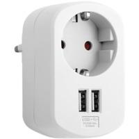 Combi adapter stikk + 2XUSB hvit
