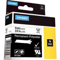 Dymo Rhino polyester tape 9mm sort på hvit