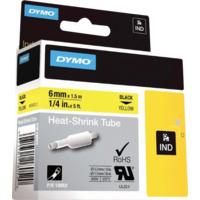 Dymo Rhino 6mm Krympestrømpe gul med sort trykk