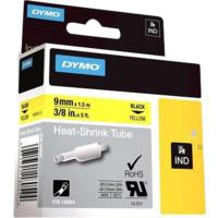 Dymo Rhino 9mm Krympestrømpe gul med sort trykk