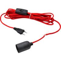 Lampeledning 5M i Rødt stoff m/bryter og E27 Sokkel