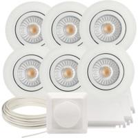 Komplett Alto Tilt LED Downlightpakke Matt Hvit 6 pk