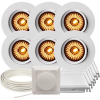 Komplett Alfa 360-tilt LED WD Downlightpakke Matt Hvit 6 pk
