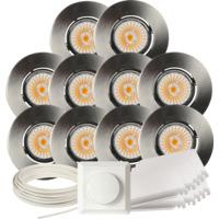 Komplett Altea Tilt LED Downlightpakke Børstet Stål 10 pk