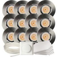 Komplett Altea Tilt LED Downlightpakke Børstet Stål 12 pk