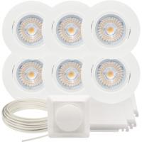 Komplett Alfa LED Downlightpakke Matt Hvit 6 pk V2