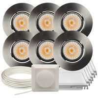Komplett Altea Tilt LED Downlightpakke B. Stål 6 pk